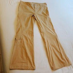 Athleta Multi Pocket Tan Flared Athletic Pants